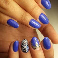 """You'll never be """"blue"""" with a manicure this fantastic. @naillike_samara added a chic factor to this look with leopard designs and gold embellishments. Main color: Blue Are You?   #ezflow #ezflownailsystems #trugel"""