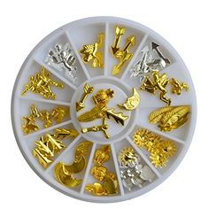 Metal Nail Art Charm Gold Silver Feather, Arrow, Moon Studs * You can get more details by clicking on the image.
