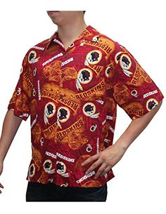 80b288868 LIMITED EDITION Mens Washington Redskins Hawaiian Shirt Officially licensed  Rayon Printed team logo Short sleeve top with full front button closure for