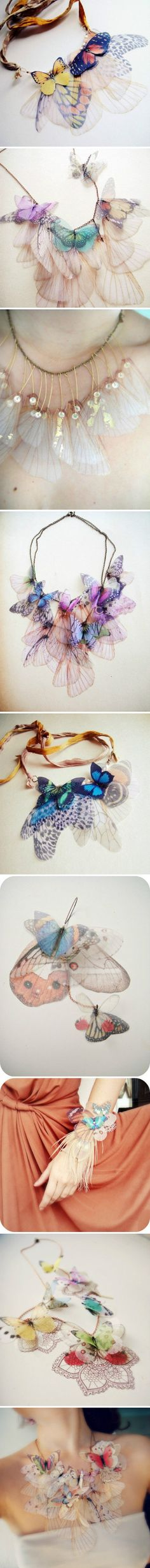 True Siou organza double adhesive stain can make this effect Diy Jewelry, Jewelry Accessories, Handmade Jewelry, Jewelry Design, Butterfly Crafts, Good Tutorials, Fantasy Jewelry, Diy Necklace, Jewelries