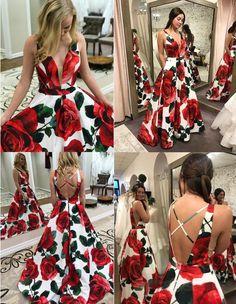 A-Line Deep V-Neck Criss-Cross Straps Floral Satin Prom Dress on Luulla Floral Prom Dresses, Pretty Prom Dresses, Gala Dresses, Dance Dresses, Cute Dresses, Beautiful Dresses, Evening Dresses, Homecoming Dresses, Formal Dresses