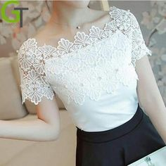 Blouse Vintage, Lace Tops, Classy Outfits, Blouse Designs, Blouses For Women, Ideias Fashion, Fashion Dresses, Crochet, 2017 Summer