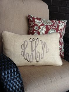 Monogrammed Burlap Pillow ❤