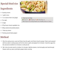 Special Fried Rice :) Slimming World Diet, Slimming World Recipes, Sliming World, Cooking Recipes, Healthy Recipes, Healthy Food, Rice Ingredients, Vegetable Rice