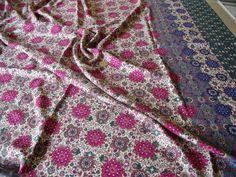 VISCOSE TWILL HERALDIC FLORAL BORDER PRINT-IVORY/MAGENTA -DRESS FABRIC-FREE P&P in Crafts, Sewing & Fabric, Fabric   eBay
