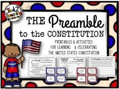 FREE Preamble pack!! Constitution Preamble comes with a several printables and activities for you to use as you teach your kids about the United States Constitution. In the free Constitution Preamble pack, you will receive the following great resources.