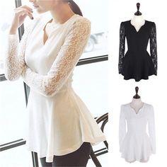 Women Long Sleeve Fashion Ladies Peplum Lace Shirt Chiffon Blouses T Shirt Tops #Unbranded #Fashion