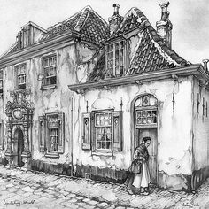 Artist: Anton Pieck Dutch illustrator best known for his fairy-tale like characters. Ant Drawing, House Drawing, Painting & Drawing, Colouring Pages, Adult Coloring Pages, Anton Pieck, House Illustration, Dutch Painters, Dutch Artists