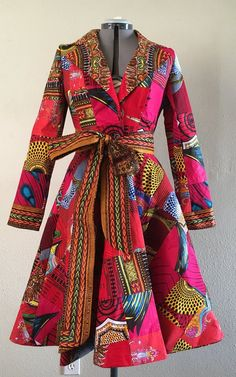 African Print Patchwork Red Coat Dress With Pockets Fully Lined Cotton This is a stylish. African Print Dresses, African Fashion Dresses, African Attire, African Wear, African Dress, Fashion Outfits, Ankara Fashion, African Prints, African Style