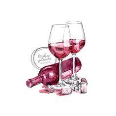 Wine Glasses print от LGillustration на Etsy