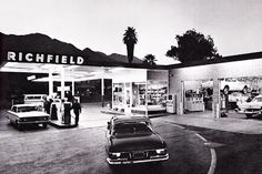 Pictured is a newly-remodeled Palm Springs, California Richfield station in Hollywood, Vintage Gas Pumps, Gas Service, Old Gas Stations, Filling Station, Commercial Photography, Palm Springs, Golden Age, Retro