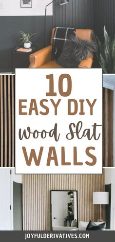 Add a trendy accent wall to your house with these easy wood slat decore ideas! Wood slats are great for adding some texture, and you can paint them any color, to match any decor. Check out these 10 inspiring ideas and find the one that best fits your space! Cool Woodworking Projects, Cool Diy Projects, Project Ideas, Wood Slat Wall, Wood Slats, Diy Wall Decor, Diy Home Decor, Diy Ideas, Decor Ideas