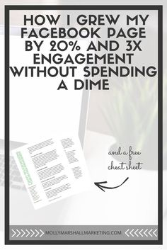 Grow your Facebook fan page and increase engagement without spending money! Click to read now and download my free cheat sheet or pin for later.