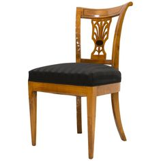Set of 4 Biedermeier Chairs, Cherrywood, Late Century Walnut Veneer, Walnut Wood, Traditional Dining Chairs, Vintage Dining Chairs, Modern Chairs, Office Furniture, 19th Century, Accent Chairs, Upholstery