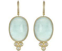 Temple St. Clair Oval Earring with Cabochon Aquamarine and Diamond