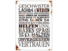 Shabby Blechschild METALL Wandschild GESCHWISTER von INTERLUXE auf DaWanda.com Family Matters, Thats The Way, Some Words, Family Love, Motivation, Quotations, Laughter, Lyrics, Sisters