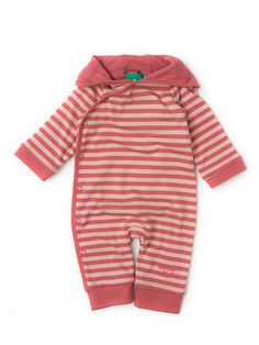 Hooded Romper http://www.littlegreenradicals.co.uk/product/sunset-pink-stripe-double-layer-hooded-romper/