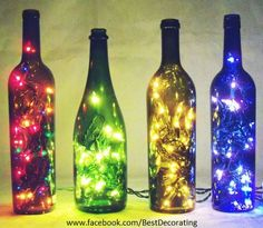 Re-use your alcohol bottles!  1. Collect desired amount and coloured empty bottles. 2. Wash it and let it dry. 3. Buy  new or get your old christmas lights. 4. Insert christmas lights in he bottles. 5. Tape a part at the back so it looks prettier. If there's a lot left than roll it and tie it with an elastic band. 6. Plug your christmas lights in and hide the rest  of your christmas lights.  7. Turn off your light and let the bottles sparkle :) *All credits goes to BestDecorating*