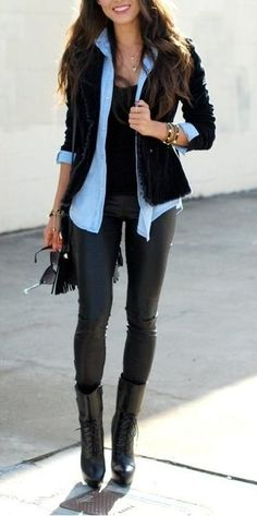 super awesometastic outfit. Black coat, tank, leather pants, black boots. And you can't forget the chambray button up :) Classic.
