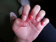 #aztec #nails #white #pink #orange #ombre