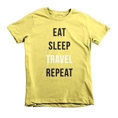 EAT SLEEP TRAVEL REPEAT Short Sleeve Kids T-shirt
