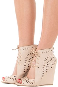 Lime Lush Boutique - Beige Lace Up Open Wedge Bootie, $46.99 (https://www.limelush.com/beige-lace-up-open-wedge-bootie/)