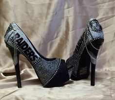 Oakland Raiders Heels. New 2015 style! All sizes,Teams & Custom orders available. Heels included. by MyPrincessPlatforms on Etsy