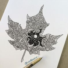 """160 Likes, 2 Comments - ШКОЛА ЗЕНТАНГЛА✍ (@zentangle_school) on Instagram: """"regram @visothkakvei So here comes the Fall. Love red, orange and yellow everywhere #fall…"""""""