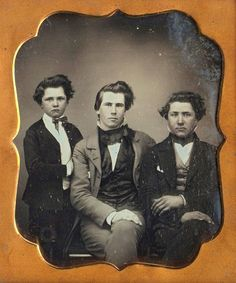 Anonymous: Daguerreotype, Three Brothers, ca 1850.: