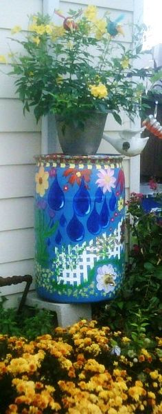 We build rain barrels and paint them.  We have a build your own rain barrel classes each year.  www.nrhcommunitygarden.com