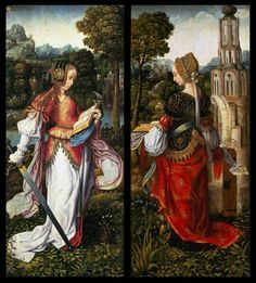 Saints Catherine and Barbara (1510-20)-Master of Frankfurt (1460–c. 1533)