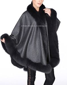 Cashmere Shawl with Fox Fur Trim (dark gray) -- Check out this great product.