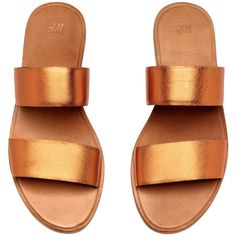 Leather Slip-in Sandals $34.99 (140 RON) ❤ liked on Polyvore featuring shoes, sandals, flat sandals, flats, h&m, genuine leather shoes, rubber sole sandals, metallic shoes and orange flat shoes