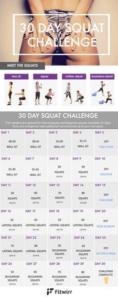 30 day squat challenge to whip your butt into shape and trim your inner and outer thighs.