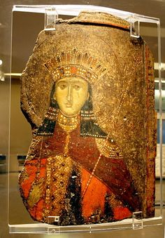 1963 - Byzantine Museum, Athens - St. Catherine - 14th century - Photo by Giovanni Dall'Orto, Nov 12 2009