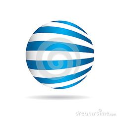 Abstract globe with perspective stripes logo.
