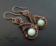 Wire wrapped earrings / blue green Amazonite gemstone / copper jewelry by Pillar Of Salt Studio