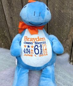 Dinosaur Personalized Baby Gift New Baby Birth Announcement by WorldClassEmbroidery, $41.99 Orange and Blue Embroidery Baby Boy