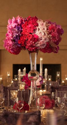 Tall red,pink and purple  Wedding Centerpiece ~ White Lilac Inc
