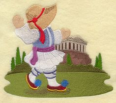 ** Fisherman Fred In Greece Block Of The Month Pattern Used As Applique Quilt @emlibrary
