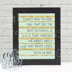 Always Pray...Faith In God Digital Print, Mint & Gold, printable art, Instant Download, Wall Print, Digital Wall Art, DIY Wall Art, 3 sizes