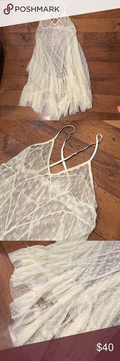 Intimately Free People lace fishtail dress/top Could be worn as a dress or top or Night gown Sheer. Will need a slip. No tears/stains/fray EUC Free People Tops Tunics
