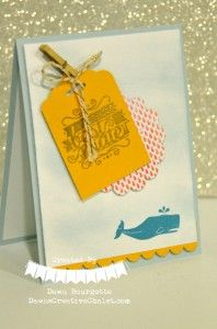 Hello, Sailor! High Tide DSP and the scallop Tag Topper Punch. Super Cute!  Dawn Bourgette - Dawn's Creative Chalet http://www.dawnscreativechalet.com #hellosailor #hightide #scalloptagtopperpunch #nautical #cardmaking #handstamped #easy #diy #dawnscreativechalet