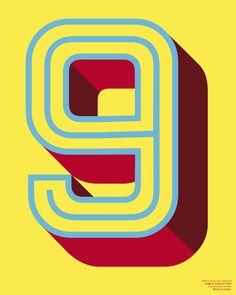 """Pop Type series: """"9"""" Art Print by Typofive"""