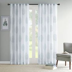 Madison Park Genia Rod Pocket/Back Tab Sheer Branch Flocking Window Curtain Panel - BedBathandBeyond.com