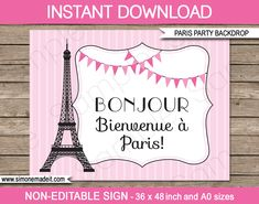 Paris Birthday Party Backdrop or Sign Bonjour by SIMONEmadeit Paris Invitations, Passport Invitations, Postcard Invitation, Wedding Invitation Templates, Paris Party Decorations, Party Kulissen, Welcome To Paris, Paris Birthday Parties, Engineer Prints