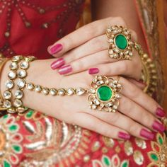 Jewellery - indian green jewelled rings and beautiful bracelets linked. exquisite.