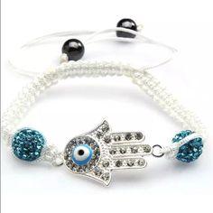 Evil Eye Bling Bracelet Rhinestoned evil eye hamsa hand adjustable bracelet Jewelry Bracelets