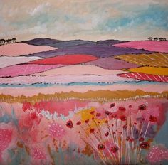 ARTFINDER: Country Flowers by Caroline Duncan by Caroline Duncan - I have painted this painting in Acrylic paints and varnished the image for protection. Painted on flat canvas board ready to frame. I love to paint vivid . Abstract Landscape Painting, Abstract Oil, Abstract Watercolor, Landscape Art, Landscape Paintings, Buy Paintings, Painting Inspiration, Art Inspo, Illustrations