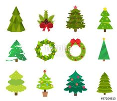 Christmas tree flat icons set vector image on VectorStock Small Christmas Trees, Christmas Decorations To Make, Christmas Tree Ornaments, Christmas Icons, Christmas Colors, Vector Christmas, Christmas Cards, Oak Tree Drawings, Tree Branch Art